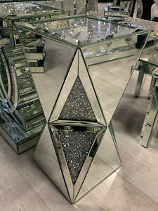 Pillar Mirrored Crushed Diamond Crystal Side End Table Stand Mirror Glitz NEW