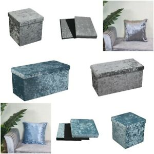 Luxury Quilted Top Folding Storage Ottoman Seat Storage Box Crushed Velvet Home
