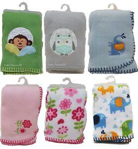 """Fleece Baby Blankets NEW (w/o tags) Monkey Owl Flowers 30"""" x 40"""" Boys & Girls"""