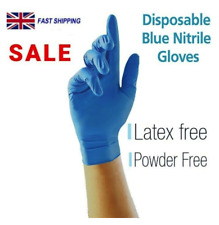 BLUE Medical Vinyl Powder/Latex Free Disposable Strong Nitrite Gloves Food Safe