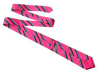 TED BAKER KNOTTED Classic Mens Pink Black White Stripe Silk Necktie Tie RRP £55