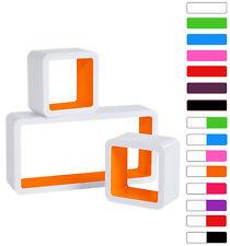 3er Set Wandregal Bücheregal Hängeregal CD Regal Cube MDF Holz orange RG9229or