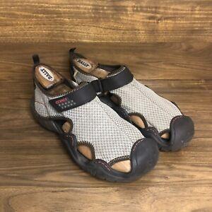 Men's 11M CROCS 15041 SwiftWater Mesh Fisherman Deck Sandals Brown Water Shoes