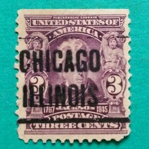 3 cent 1902 JACKSON Issue, Precancel Chicago ILL. Stamp Used