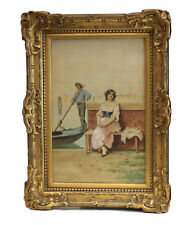 Romolo Tessari (Italian 1868–1947) Watercolor painting Gondola, gondolier Venice