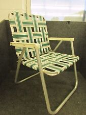 RETRO ALUMINUM FOLDING WEBBED LAWN CHAIR, PLASTIC ARMS, GREEN / WHITE