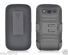 Samsung Galaxy S3 III ARMOR HYBRID CASE SKIN COVER w/ HOLSTER BLACK