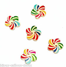 mercerie LOT de 5 BOUTONS BOIS forme fleur et motif psychédélique 17mm button