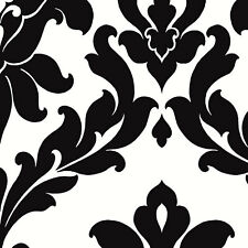WALLPAPER BY THE YARD Black and White Damask Wallpaper VG26230P