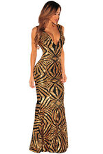 Abito Lungo ricamato Aderente nudo Party Ballo Cerimonia Sequins Gown Dress M