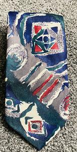 "Mens BHS green multi geometric smart polyester vintage tie 3.5"" wide 56"" long"