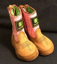 Pre-Owned John Deere Baby Girl Pink Leather Boots Newborn Infant Size 0