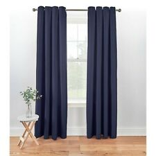 """Eyelet Textured Weave Dark Blue Fully Lined Curtains W66"""" x D90"""""""