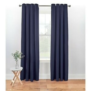 """Eyelet Textured Weave Dark Blue Fully Lined Curtains W90"""" x D90"""""""