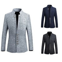 Retro Men Blazer Long Sleeve Stand Collar Button Brocade Jacket Frock Short Coat
