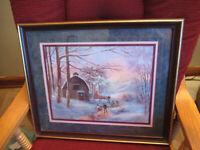 Vintage Home Interiors Winter Scene Farm Skating Framed Print Lee K. Parkinson