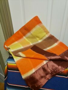 "Vtg Satin Trim Blanket  70""x 84"" Orange Yellow Brown Plaid Great Condition"