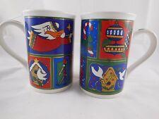 2 Ltd Ed Fire Works Stoneware Christmas Mugs Santa Tree Doves Angel Toy Soldier