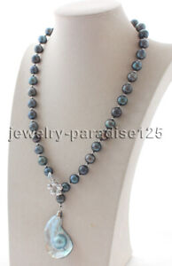 """J8256 -  22.5"""" 11mm black round Freshwater Pearl necklace + Mabe pearl pendant"""