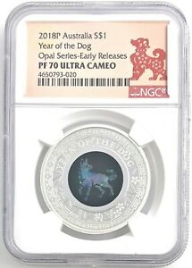 2018P Australia S$1 Year of the Dog Opal Series-Early Releases PF70 Ultra Cameo