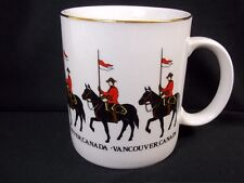 RCMP Vancouver Canada china coffee cup Mounties gold rim Aalco 10 oz