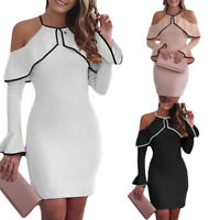 Women Sexy Bandage Bodycon Long Sleeve Evening Party Cocktail Club Short Dress