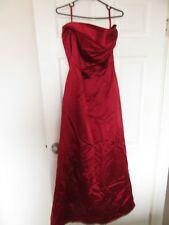 Burgundy red acetate satin strapless Monsoon dress size 12, fully satin lined.