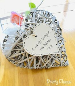 Large Wicker Heart Personalised Wedding Gift Valentines Anniversary Housewarming