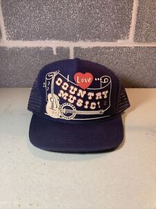 I LOVE COUNTRY MUSIC SNAPBACK MESH TRUCKER HAT BLUE
