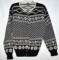 Vintage GAP Black & White Snowflake Womens Wool Cardigan Sweater Sz L Hong Kong