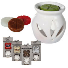 CERAMIC OIL BURNER WITH 4 SCENTED MELTS WAX TEALIGHT CANDLE TARTS GIFT SET AROMA