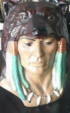 Vintage Mid Century, Ceramic Native American Bust w Bear Hide Headdress