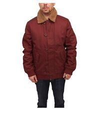 WESC Jejor Jacket Burgundy Tan Sherpa Lined Cotton Canvas Coat M Medium