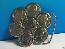 VINTAGE BELT BUCKLE 7 SEVEN US NICKEL COINS DESIGN MONEY FLOWER SILVER 1970 USA