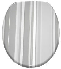 KLOBRILLE TOILETTENSITZ TOILETTENBRILLE WC DECKEL ABSENKAUTOMATIK GREY STRIPES