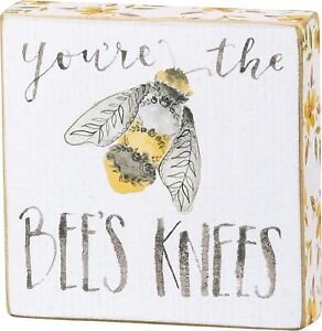 Primitives by Kathy You're the Bees Knees Block Tier Tray Sign 4 Inches
