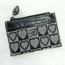Brighton Coin Pouch ID Case Black Jacquard Croco Leather Photo Holder Card Slot