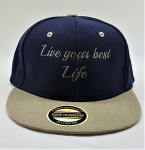 Live your best life Embroidered  Snap back Cap Navy and beige with logo