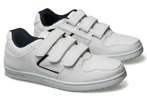 Mens Wide Fitting Trainers White Touch Fastening 6 - 12