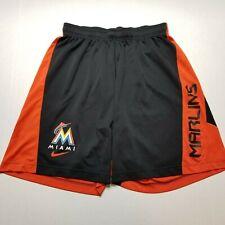 Nike MLB Miami Marlins Shorts Mens L Dri-Fit Baseball BSBL Orange Black P31