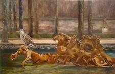 Héron, Peinture à l'huile originale Anne Zamo