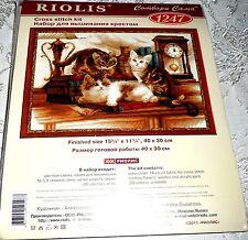 "Riolis Counted Cross Stitch Kit FURRY FRIENDS Cats 15 3/4"" x 11 3/4"""" Item #1247"