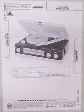 Vintage Sams Photofact Folder Radio Parts Manual Panasonic SG-570 Record Player