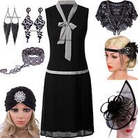 1920s Flapper Dress Black Classic Vintage Womens Dresses V-Neck Evening Gowns 18