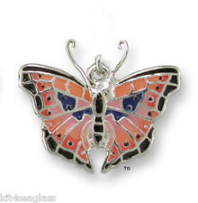 Zarah Zarlite Pink Madagascar Butterfly Charm Silver Plated & Enamel Jump Ring