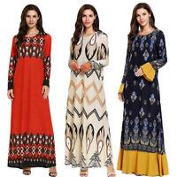Abaya Women Long Sleeve Muslim Maxi Dress Islamic Cocktail Party Loose Gown Robe