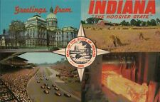 PLEASE READ !!! Greetings from Indiana Indy 500 etc. - Standard Chrome Postcard