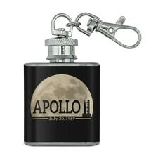 NASA Apollo 11 Moon with Saturn V Stainless Steel Flask Key Chain