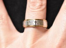 The Lord's Prayer Word Ring Band Silver Gold Tone Religious Costume Jewelry SZ 7
