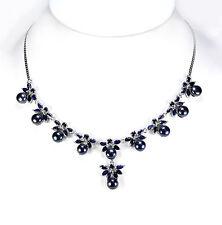 925 Sterling Silber Collier, Weisgold beschichtet, Perlen,  Blauer Saphire, Neu